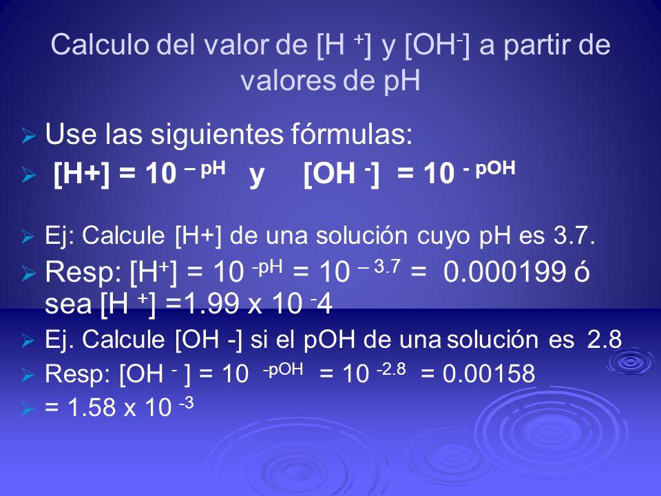 Calculo del valor de [H +] y [OH-] a partir de valores de pH